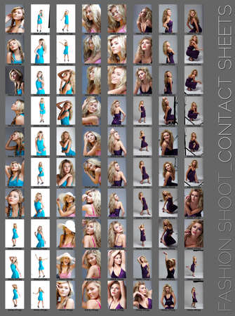 contact sheet of a professional fashion shoot for a beautiful blond woman, 80 images, unretouched.