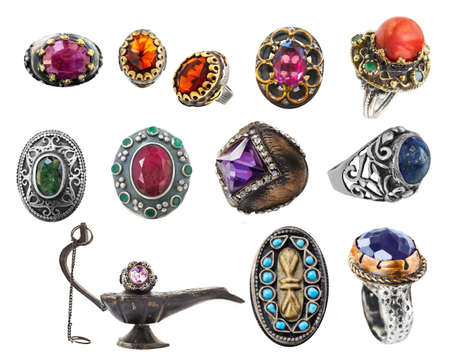 collection of 12 vintage Ottoman style silver and gold rings with precious and semi-precious stones. Banque d'images