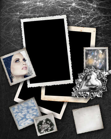 Silver background with grunge photo frames with Christmas theme pictures inside and space for text. photo