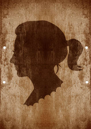 personal profile: drawing of a woman face in old-fashioned silhouette style on grunge background