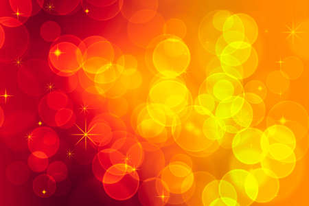 bright lights bokeh effect in red and yellow with stars photo