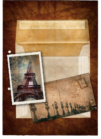 memories: grunge postcard and picture with Eiffel Tower and bridge in Paris and empty envelop on a dark texture background .