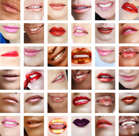 glans: collection of 36 lips closeups with different colour lipstick on women from African, Indian and Caucasian background.