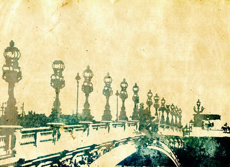 scenic spots: grunge postcard with ink illustration of a bridge in Paris France with copy space.
