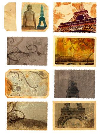 ensemble de cartes de grunge et de modèles de Paris avec les curiosités de la tour eiffel, des manuscrits et des tourbillons