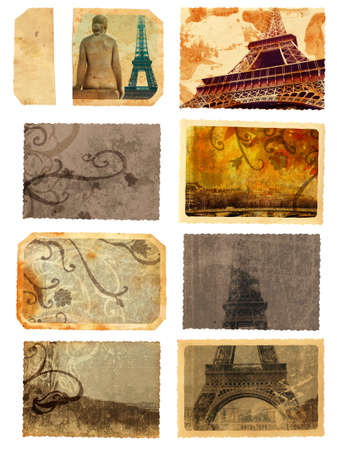 set of grunge cards and templates from Paris with eiffel Tower sights, scrolls and swirls photo