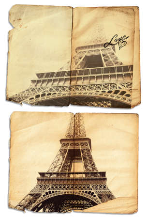 romantic getaway: vintage photo of symbol of love Eiffel Tower on grunge pages of an antique journal with copy space, Stock Photo