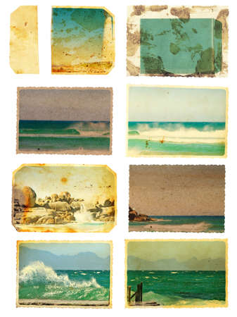 set of grunge cards and templates from around South African sea views