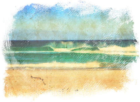 watercolor blue: sea waves and blue sky in a style of a old painting on grunge canvas with rough edges.