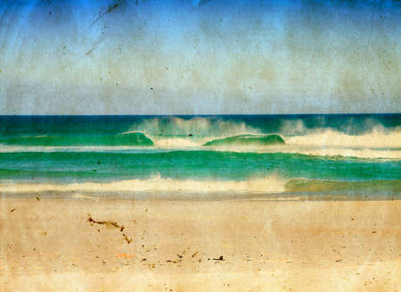 postcard template: sea waves and blue sky in on grunge paper texture. Stock Photo
