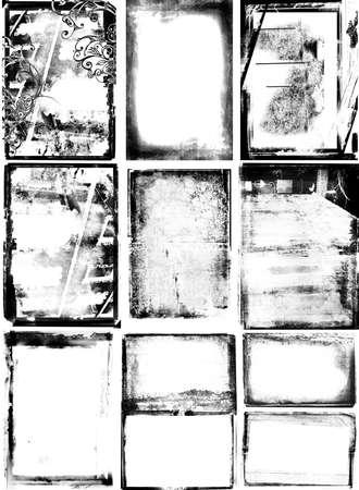 ensemble de 10 frontières photographiques avec texture détaillée, les tourbillons de grunge et les bordures endommagées.