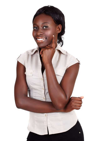 young African American businesswoman wearing light shirt looking with hand on her face isolated on white Stock Photo - 8867545