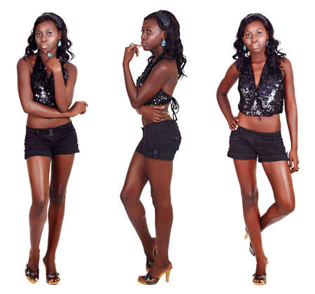 beautiful African American model with fit slim body wearing shorts and sequin party top on white background in three different poses