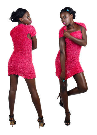 front and back view of beautiful African American model with fit slim body wearing pink mini dress on white background Stock Photo - 8867794