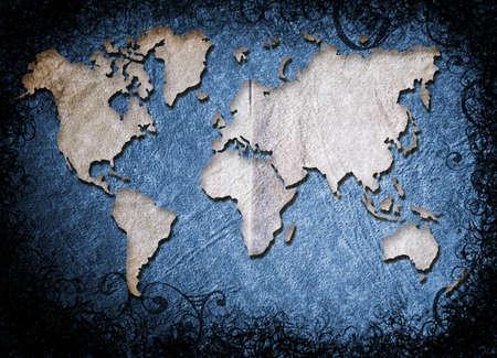 grunge world map illustration in blue texture and swirls burnt border. illustration