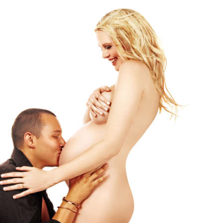 portrait of a happy expecting couple with pregnant woman on white photo
