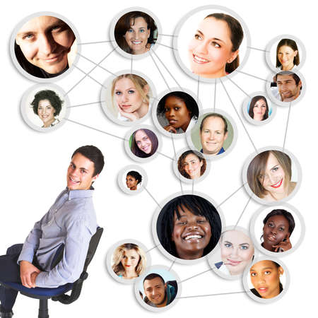 adolescent african american: successful young man sitting on cahir with social network friends and business partners in a diagram