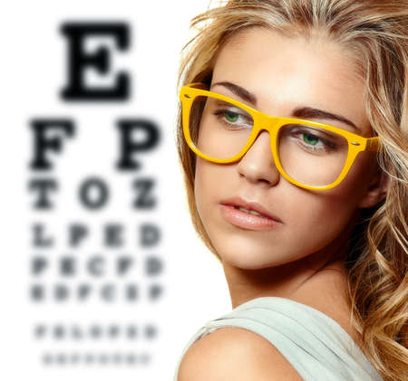 eye test: beautiful blonde woman Stock Photo