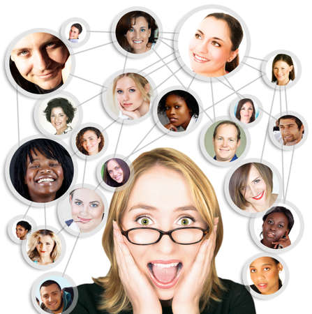 interacting: illustration of happy young businesswoman with her social network of friends and clients.