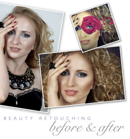 before and after of a womans face retouching - close-up of professional high-end image retouch with hair manipulation and manicure color change