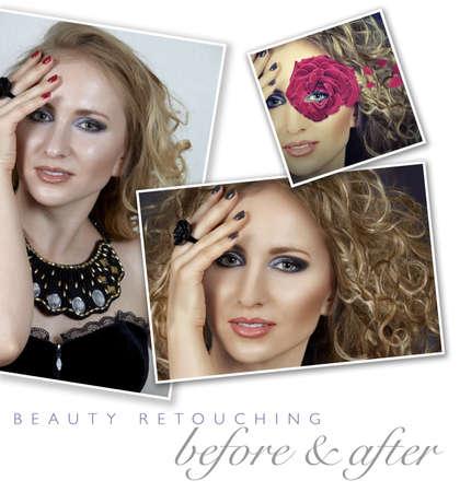 highend: cambiamento del colore prima e dopo di una donna faccia ritocco - Close-up di immagine professionale di fascia alta ritoccare con capelli manipolazione e manicure