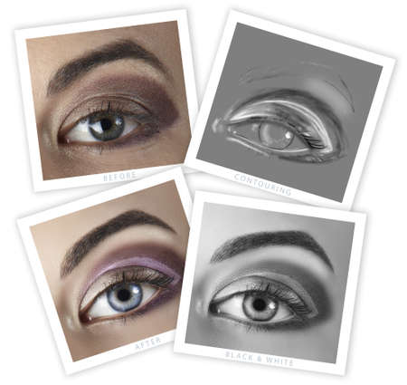 before and after of a womans eye retouching - close-up of professional high-end image retouch, including contouring illustration Stock Photo