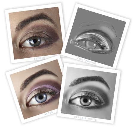 highend: prima e dopo di una donna occhio ritocco - Close-up di immagine professionale di fascia alta ritoccare, tra cui contouring illustrazione