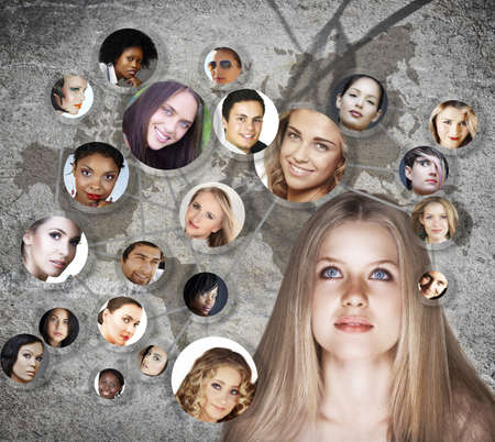 beautiful caucasian young woman with social network of young peer friends men and women in their 20s on grunge background with a map photo
