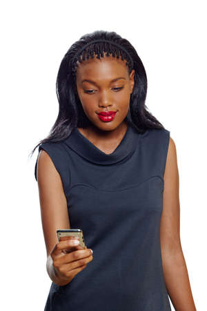 Portrait of a  African American business woman with a cellphone on white background Stock Photo - 10012610