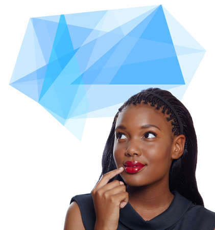 Portrait of a happy African American business woman with hand on face thinking with origami thought bubble photo