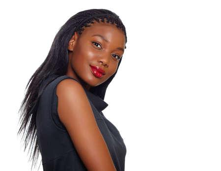 Femme africaine d'affaires américains à la recherche sur son épaule dans le profil sur fond blanc avec un sourire Banque d'images - 10012110