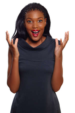 excited people: African American business woman screams in happy surprise over white background Stock Photo