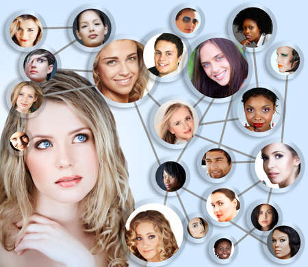 networking people: beautiful caucasian young woman with social network collage concept of young peer friends men and women in their 20s