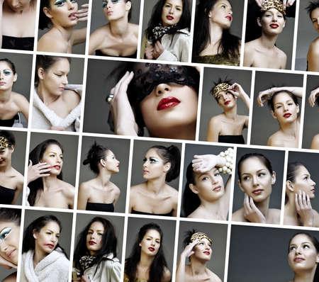 collages variété de la mode et le maquillage des photos d'une belle jeune femme portant des dramatiques à maquillage naturel.