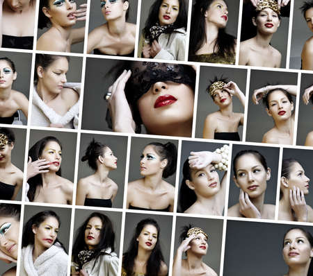 variety collage of fashion and make-up pictures of a beautiful young woman wearing from dramatic to natural make-up. photo