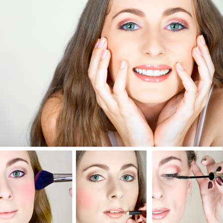 collage of a beautiful happy woman having her mascara, blush and lip pencil applied by a make-up artist. Stock Photo - 10328002
