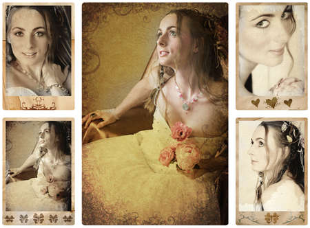 old fashioned sepia: collage of old antique texture happy bride photos with designed antique border.
