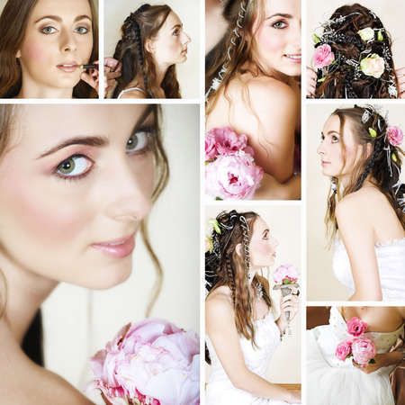 collage of a beautiful bride getting ready on her wedding day by doing make-up and hairstyling. photo