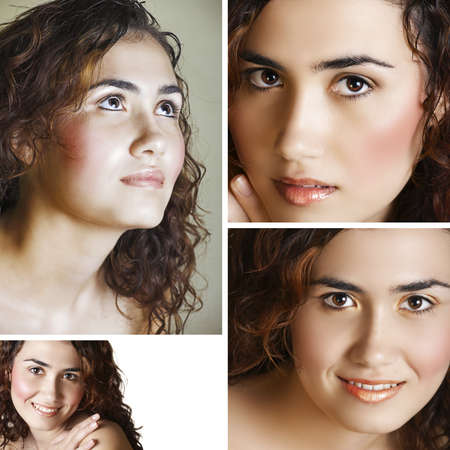 spa collage: collage of a beautiful young happy woman with long curly hair in spa context of healthy hair care