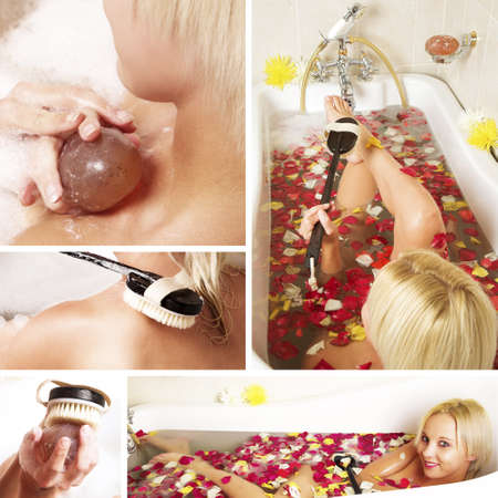 lying in bathtub: collage of a beautiful young blonde woman in a Victorian bath filled with rose petals. Stock Photo