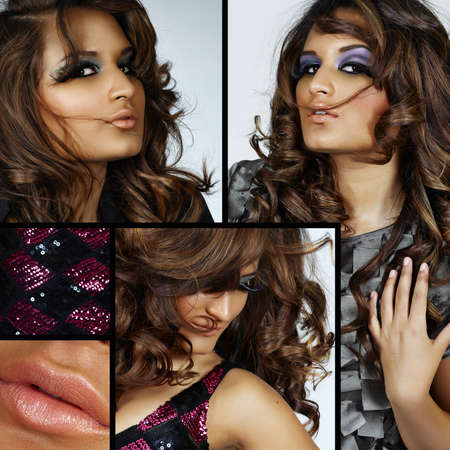 collage of beautiful spanish young woman with fashion make-up and fake eyelashes and long curly hair blowing in wind  photo