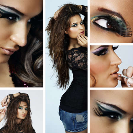 collage of beautiful spanish young woman with fashion make-up and fake eyelashes and long curly hair blowing in wind  Stock Photo