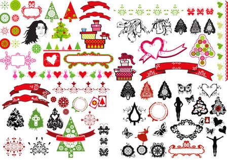 seasonal symbol: �rboles de Navidad de iconos de dise�o tema festivo, las mujeres y los copos de nieve - collage de ilustraci�n