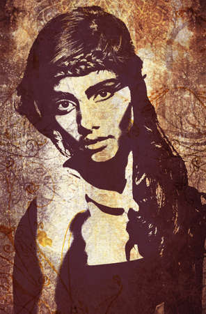 close up face: graffiti fashion illustration of a beautiful woman with long hair on wall texture with grunge effect