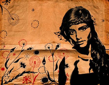 grafitis: Ilustración de una hermosa mujer de cabello largo de moda de graffiti en textura de papel con efecto grunge