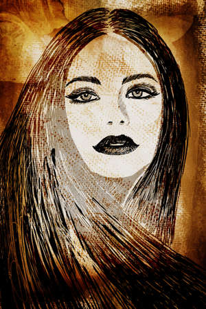 female face closeup: graffiti fashion illustration of a beautiful woman with long hair on wall texture with grunge effect