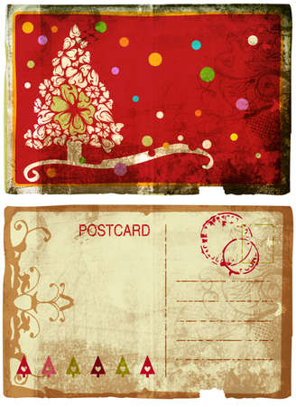 post cards: Grunge card with Christmas tree and flower swirl design on rich paper texture front and back
