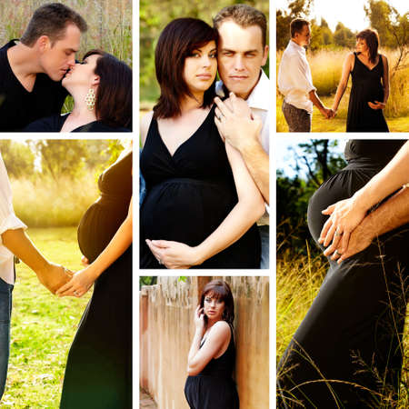 Collage of images of 8 months pregnant brunette woman with her husband outdoors on a sunny day. photo