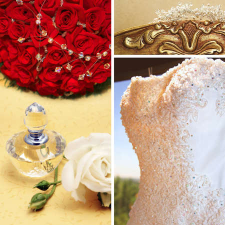 diamond head: Collage of beautiful wedding dress with accessories and bridal flowers with roses. Stock Photo