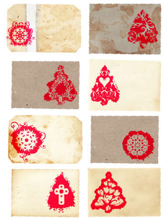 Grunge collage set of Christmas tree retro style cards with red Christmas tree and snowflake swirls patterns on paper texture background